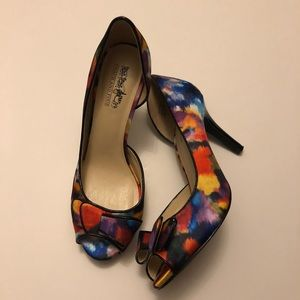 Coach and Four multicolored Janet Watercolor heel